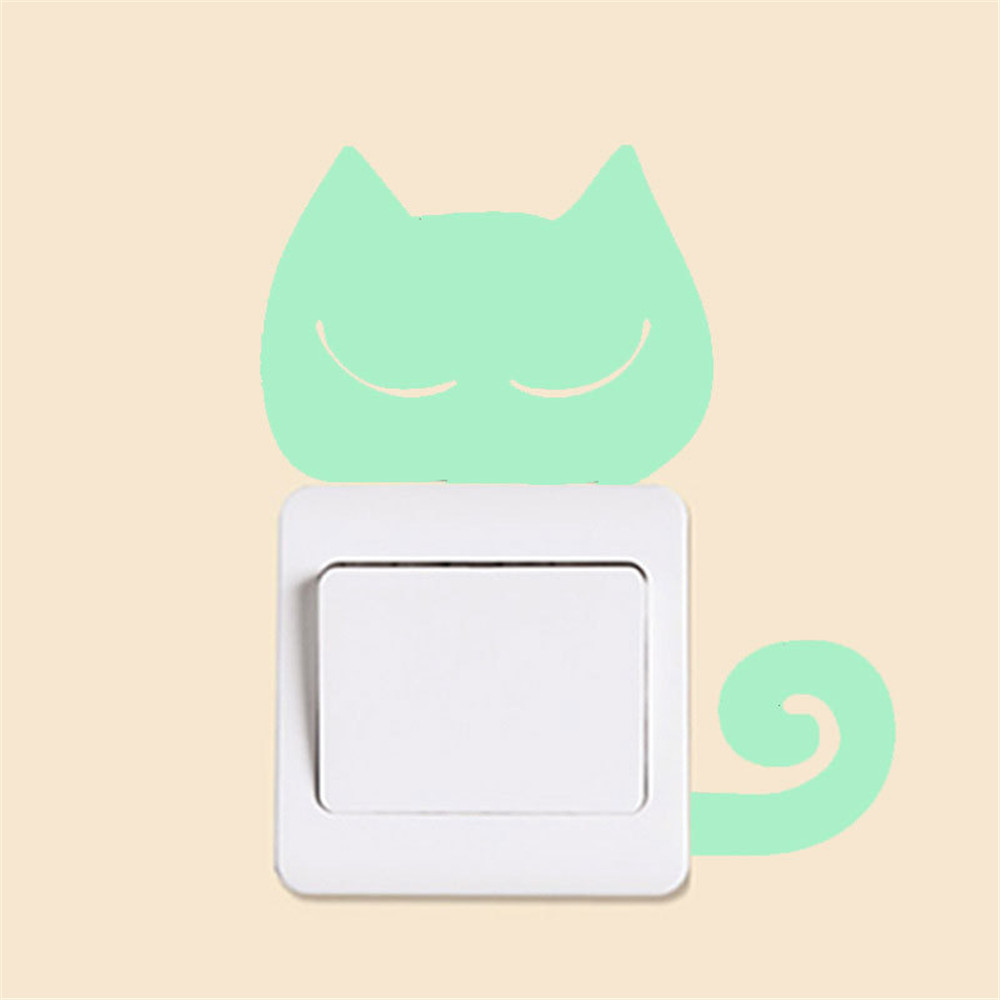 Waterproof Cute Creative Kitten Cat Luminous Noctilucent Glow Switch Wall Sticker Home decoration 2017 New Fashion Green Color