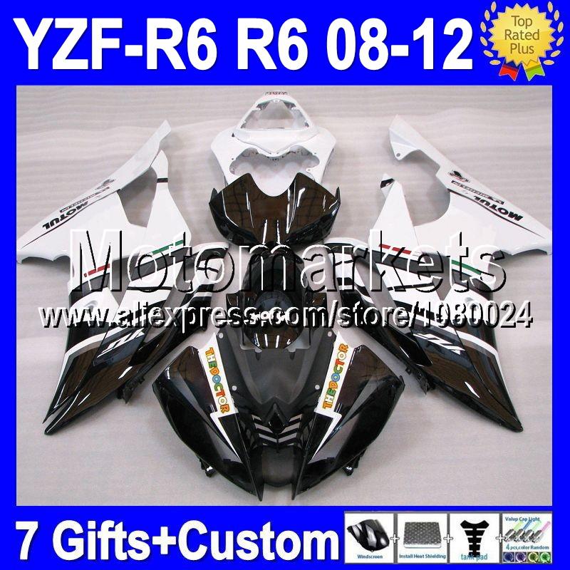 7gifts For YAMAHA YZF R6 08 09 10 11 12 YZF 600 FIAT Black white YZFR6 YZF-R6 MK97400 2008 2009 2010 2011 2012 YZF600 Fairing(China (Mainland))