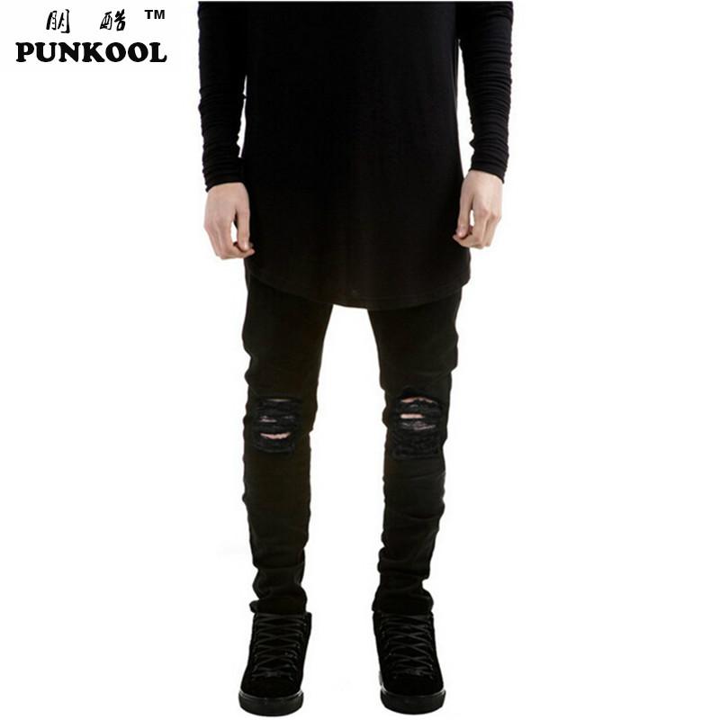Ripped Jeans For Men Skinny Distressed Slim Famous Brand Designer Biker Hip Hop Swag Tyga Kanye West Skinny Black Jeans For Men