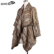 ZDFURS * 2015 New Genuine Rabbit Fur Coat Fashion Women knit Rabbit Fur Jacket Winter Warm Rabbit Fur Outwear ZDKR-165003(China (Mainland))