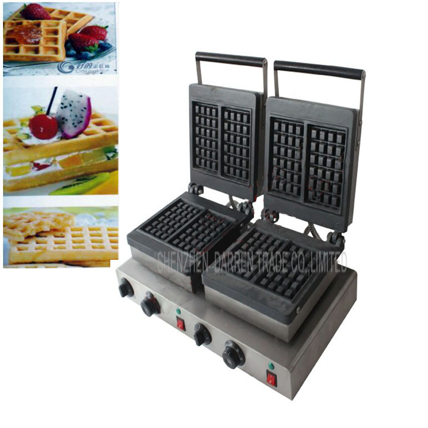 Free DHL 1PC Electric double-end for waffle machine,commercial square waffle machine,waffle grill/ waffle oven/ Snack machine(China (Mainland))