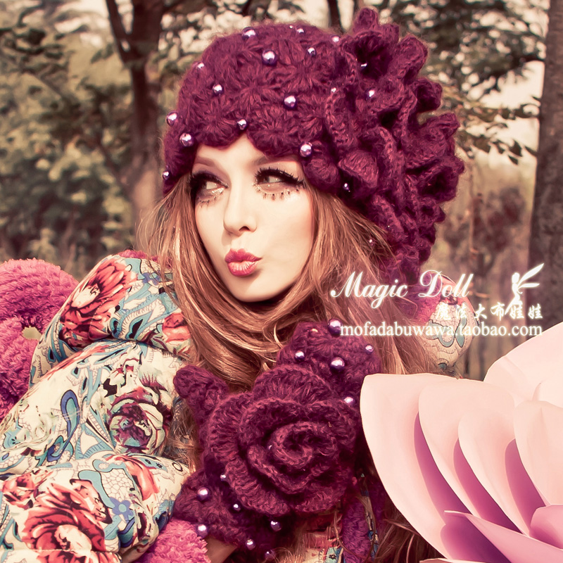 Magic large dolls winter female flower ladies gentlewomen purple pearl knitted hat fashion design flower winter hat(China (Mainland))