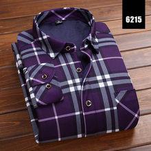 2019 Moda Inverno Quente de Pelúcia dos homens Magros Camisas 24 Cores Listrado Xadrez Blusa de Impressão Para Homens Casual Roupa Retro tamanho M-5Xl(China)