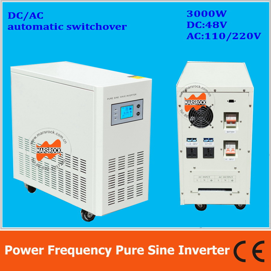 Power frequency 3000W pure sine wave solar inverter with charger DC48V to AC110V220V LCD AC by Pass AVR(China (Mainland))