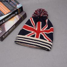Flag font b Beanie b font Winter Kniting Hat With Pom Pom Hip Hop Dancing British