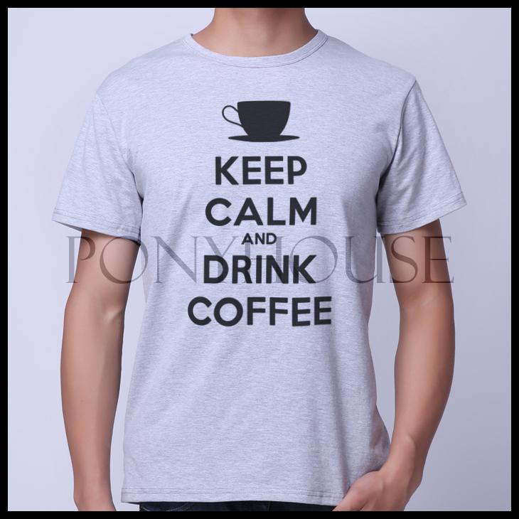 Гаджет  2015F OEY AND DRINK COFFEE KEEP Coffee gas drink CALM T-shirt short sleeve male None Изготовление под заказ