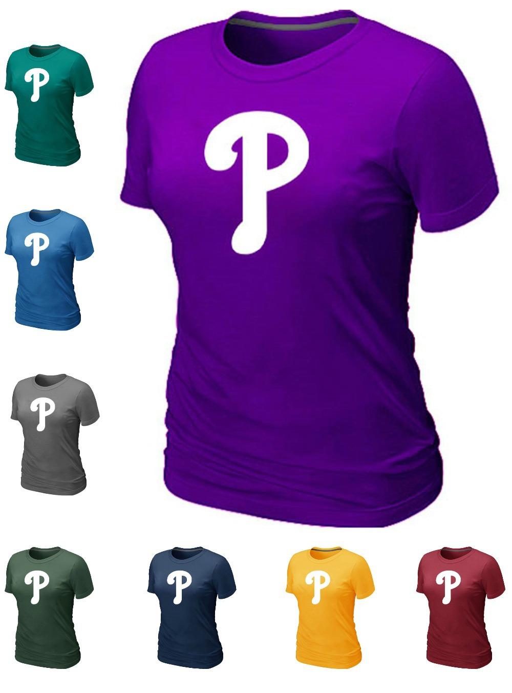 Cheap Philadelphia Phillies Team Logo Women Baseball T Shirt Short Sleeve T-shirt wholesale Cotton Phillies Tees Shirt 14 Colors(China (Mainland))