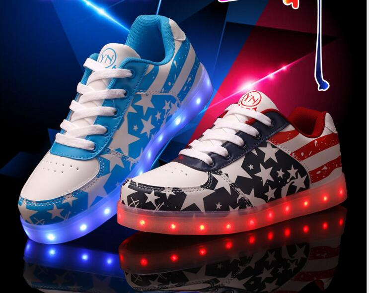 USB 7 color LED 35-44 lover design flat casual shoes 2016 spring new cool women's low cut canvas shoes Luminous Shoes zapatillas(China (Mainland))