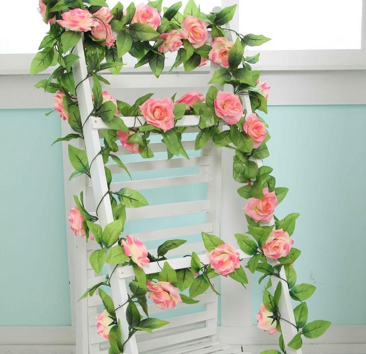 250cm Fake Silk Roses Ivy Vine 12 Colors Artificial Rose Garland Flower With Green Leaves For Wedding Decoration Hanging Floral(China (Mainland))