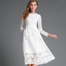 2016 New Summer Women Long White Lace Dress Elegant Ladies Lace Hollow Out Long Sleeve Casual Office Party Dresses Vestidos(China (Mainland))