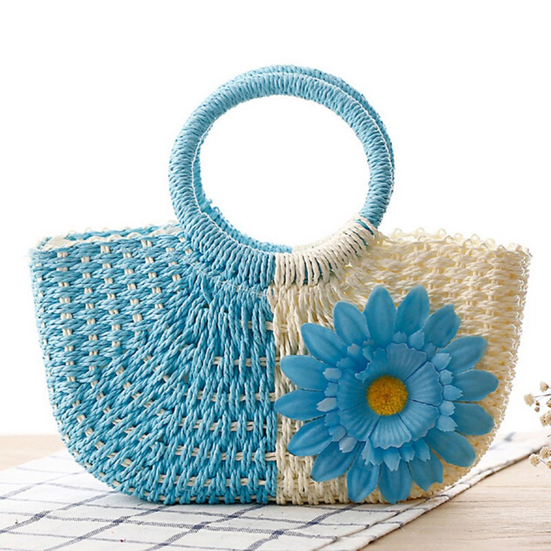New Arrival Ladies Simple Casual Handbag Summer Style Beach Bag Sunflower Decor Weave Tote Women Vacation Hand Bags 6 Color(China (Mainland))