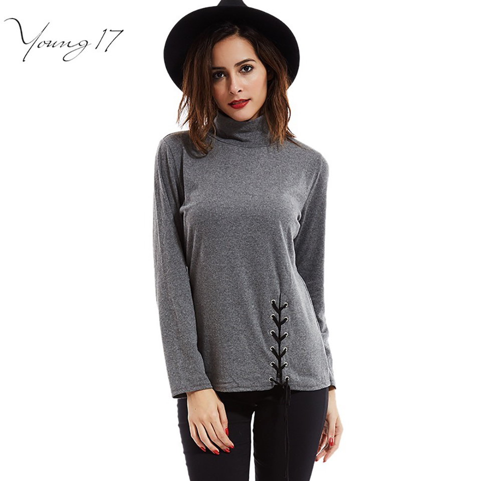 Young17 femme turtleneck t shirt Novelty slim Women Long Sleeve front lace up basic T-Shirt 2017 Spring cotton tee shirts casual(China (Mainland))