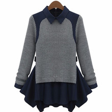 2015 new winter women's fashion casual leave two models pullover sweater has a long sweater hem women sweaters and pullovers xl(China (Mainland))