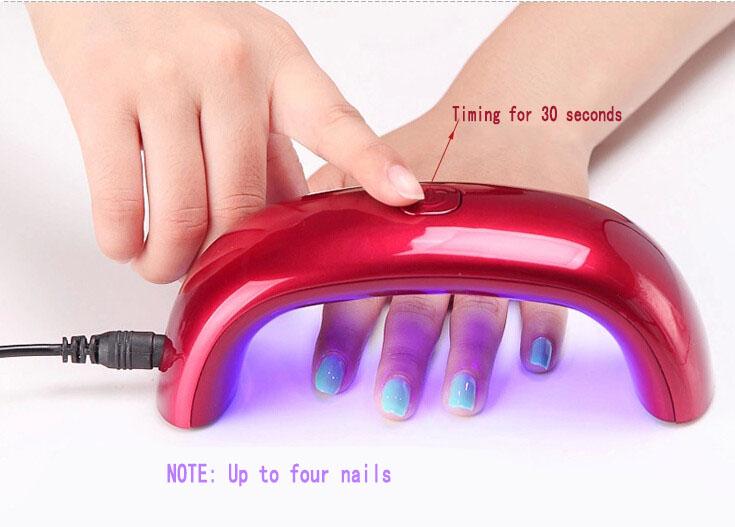 New Free Shipping Mini Portable 6W LED CCFL Nail Dryer Curing Lamp Machine for UV Gel Nail Polish(China (Mainland))