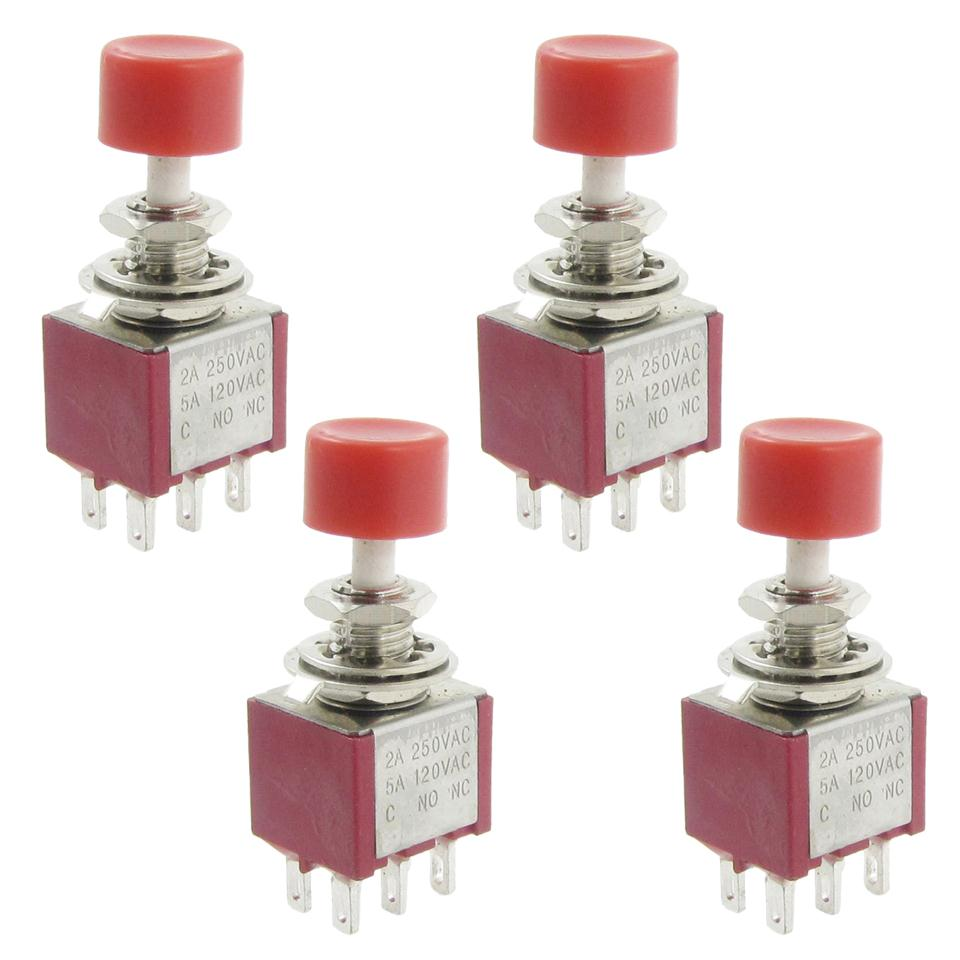SZS Wholesale 4 Pcs AC 250V 2A 120V 5A DPDT 2NO 2NC Momentary Push Button Switch