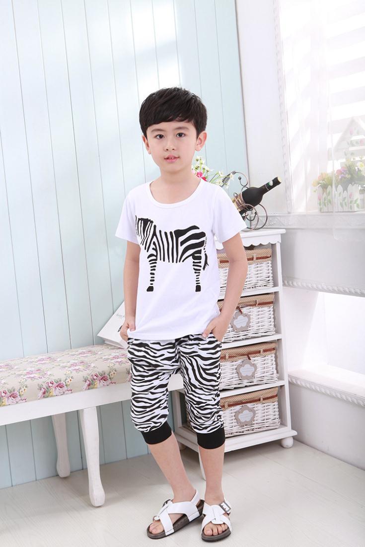 2015 New Brand Summer Style Children Clothes Set Cotton Cheap Baby Clothes Kids Boy Fashion Clothes (T Shirt+pants) /set(China (Mainland))