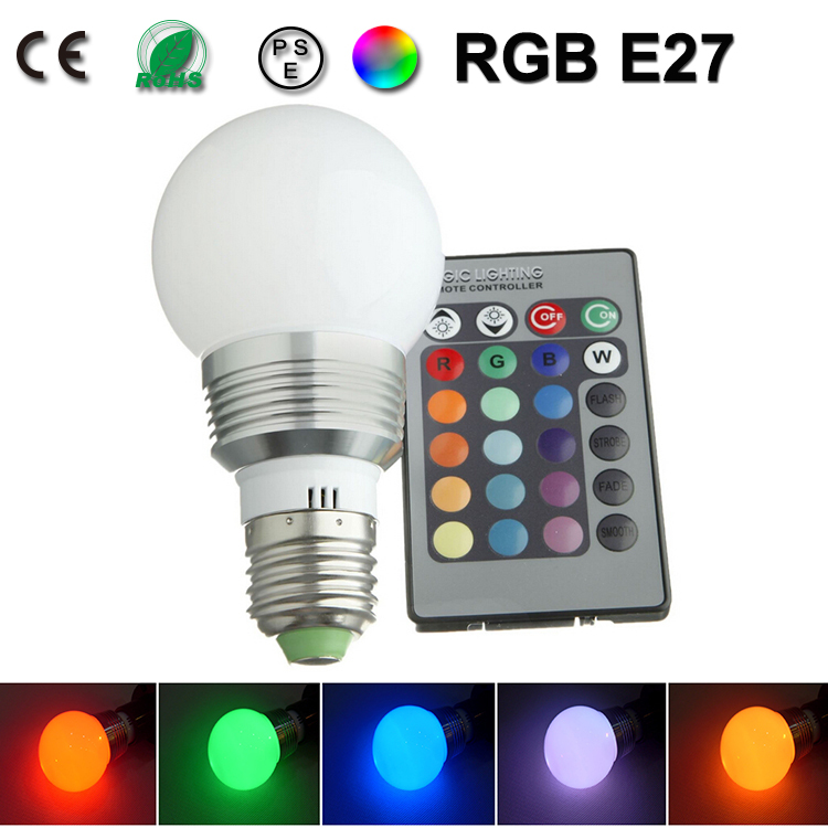 9W 12W lamp led e27 dimmable bulb RGB couleur ampoule led e27 lampadine colore lampadina lampen led eclairage lampe 110V 220V(China (Mainland))