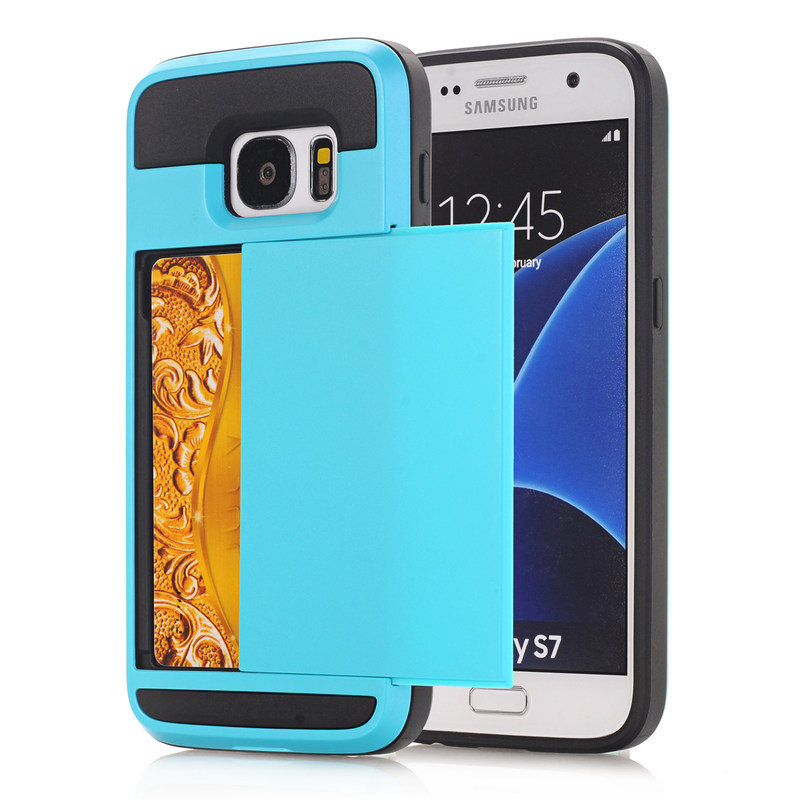 For Samsung Galaxy S4 S5 S6 Edge Plus S7 edge Hybrid Case Slide Card Holder Dual Layer Hard Soft Armor Luxury Cover