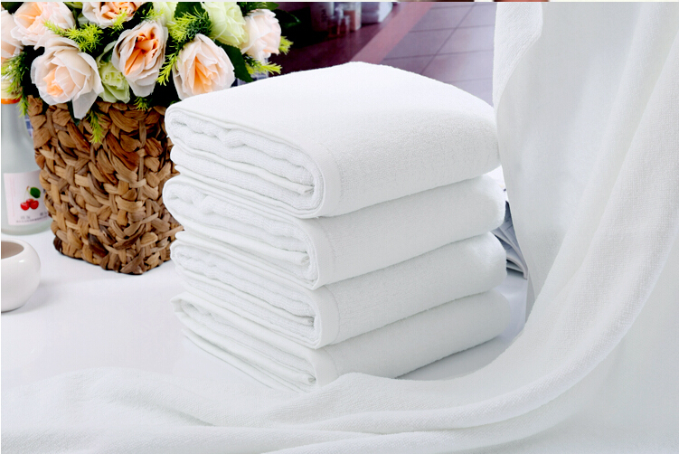 Soft Bath Towel White Cotton 145*70cm Big Hotel Towel Washcloths Wedding Hand Towels(China (Mainland))