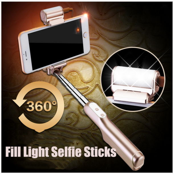 Brand Mini Self-portrait Stick LED Flash Fill Light Handheld Extendable selfie stick for ISO Android monopod Tripod Monopod(China (Mainland))