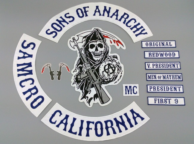 2015 New Sons Of Anarchy Patch BLUE TWILL STYLE Biker MC Patches For Clothes Back Full Size Custom Embroidered Iron On Patches(China (Mainland))