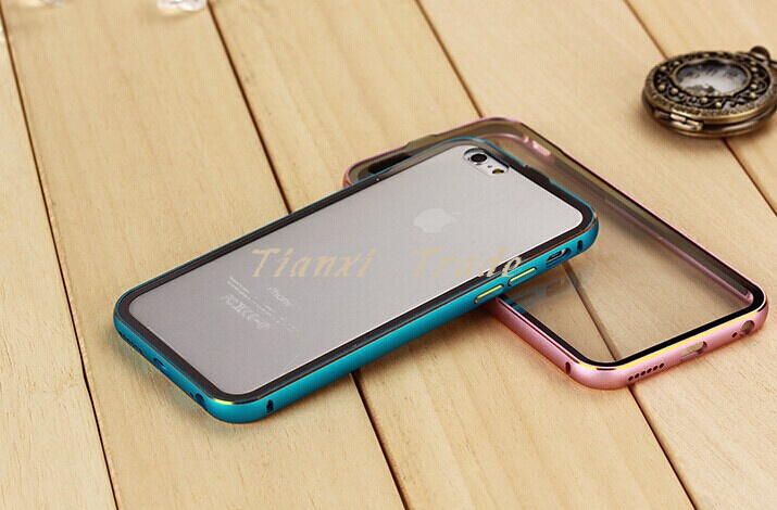 New style Double colors Aluminum Bumper + Transparent Back Cover Case For Apple Iphone 6 6G 4.7 inch Free Shipping(China (Mainland))