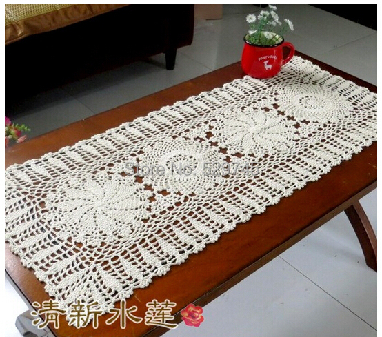 New Chrismas gift Handmade Crochet Flowers Tablecloth Cotton Coffee Table Runner Doilies Sofa towel Furniture Cover cloth(China (Mainland))