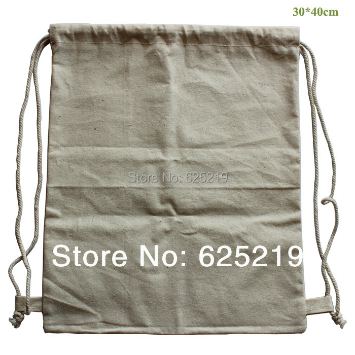 150g/m2 (20pcs/lot) 30*40cm/10*15.5inch 100% cotton bag organic natural drawstring shopping bag student bag customize size &logo(China (Mainland))