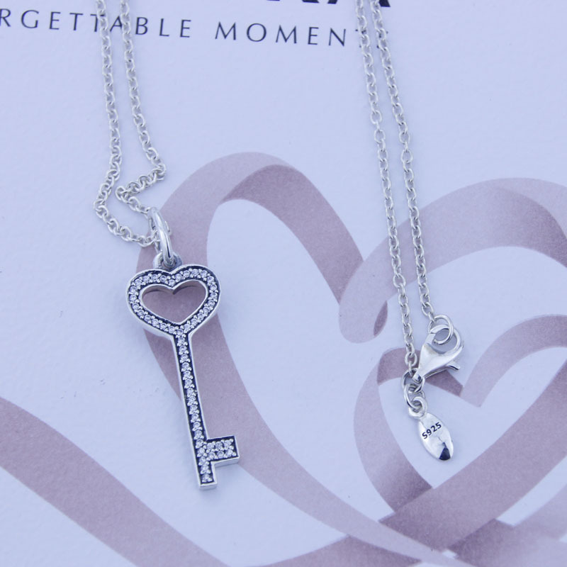 Silver Fine Jewelry 925 Sterling Silver Jewelry Silver Key Pedant with Cz and Necklace sterling-silver-jewelry necklace RC008