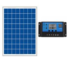 20W Solar Panels + 10A 12V 24V Solar Controller LCD display small solar home system 18V solar charger 12V battery(China (Mainland))