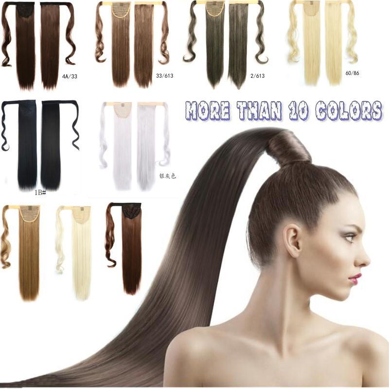 "24"" 60cm long length synthetic ponytails,kanekalon Fake Hair Ponytail,clip in hair ponytail,black/brown/blond syntheitc ponytail(China (Mainland))"