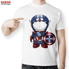 [EATGE] Creative Captain America Doraemon Funny T Shirts Men Short Sleeve O-neck Tshirts Fashion Summer Style Brand T-shirts