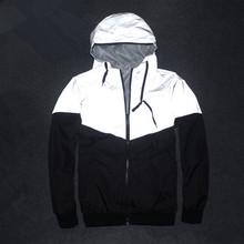2016 NEW Drop Shipping Men Jacket Autumn Patchwork Reflective 3m Jacket Sport Hip Hop Outdoor Waterproof Windbreaker Men Coat