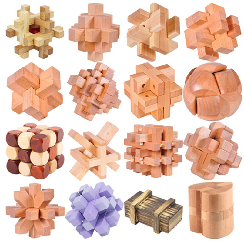 2016 Novelty 16 Pcs/Lot IQ Brain Teaser Burr Wooden Toys for Children/Adults,3D Puzzle Unlocking Games Educational Kid's Toy(China (Mainland))