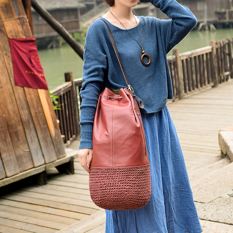 56*27cm Free shipping Cotton and linen knitting is inclined shoulder bag leather cotton pure manual weaving single shoulder bag(China (Mainland))