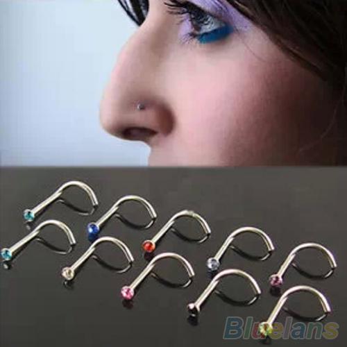 Гаджет  10Pcs Mix Colors Rhinestone Hook Bone Bar Pin Piercing Jewelry Nose Studs Rings 2MDD None Ювелирные изделия и часы