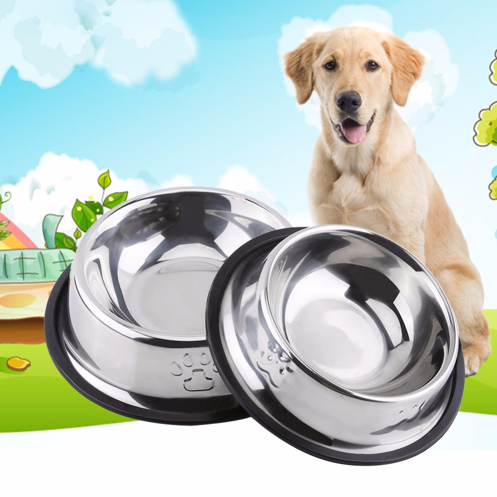 5 Sizes Universal Stainless Steel Small/Big Pet Dog Bowl Puppy Cat Feeding Travel Feeder Dog Food Bowl Drink Eating Water Dish(China (Mainland))