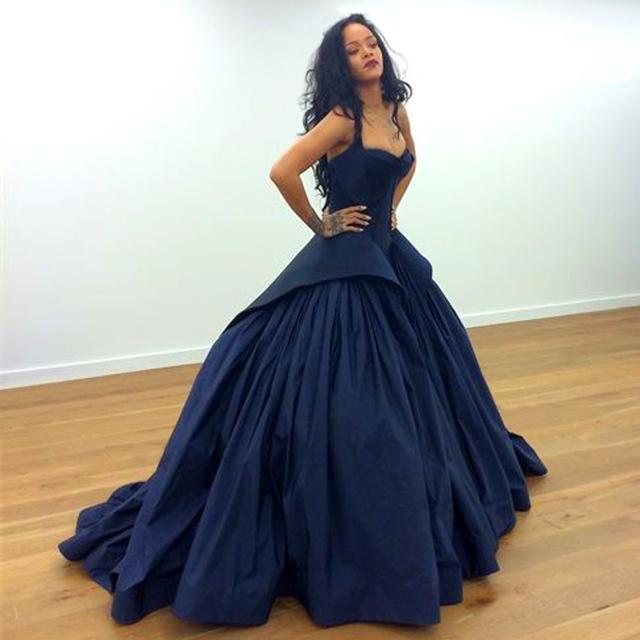 2015 New Arrival Rihanna Ball Gown Navy Blue Celebrity