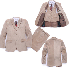 Kids Blazers Jackets Coat+Jacket+Pant 3 piece Clothing set for Boys Blazer suit Corduroy Formal dress Baby clothes Wedding suit