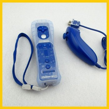Free Shipping Wiimote Built in Motion Plus Remote And Nunchuck Controller For Wii Blue + Case  YXPJ00021+YXPJ0015