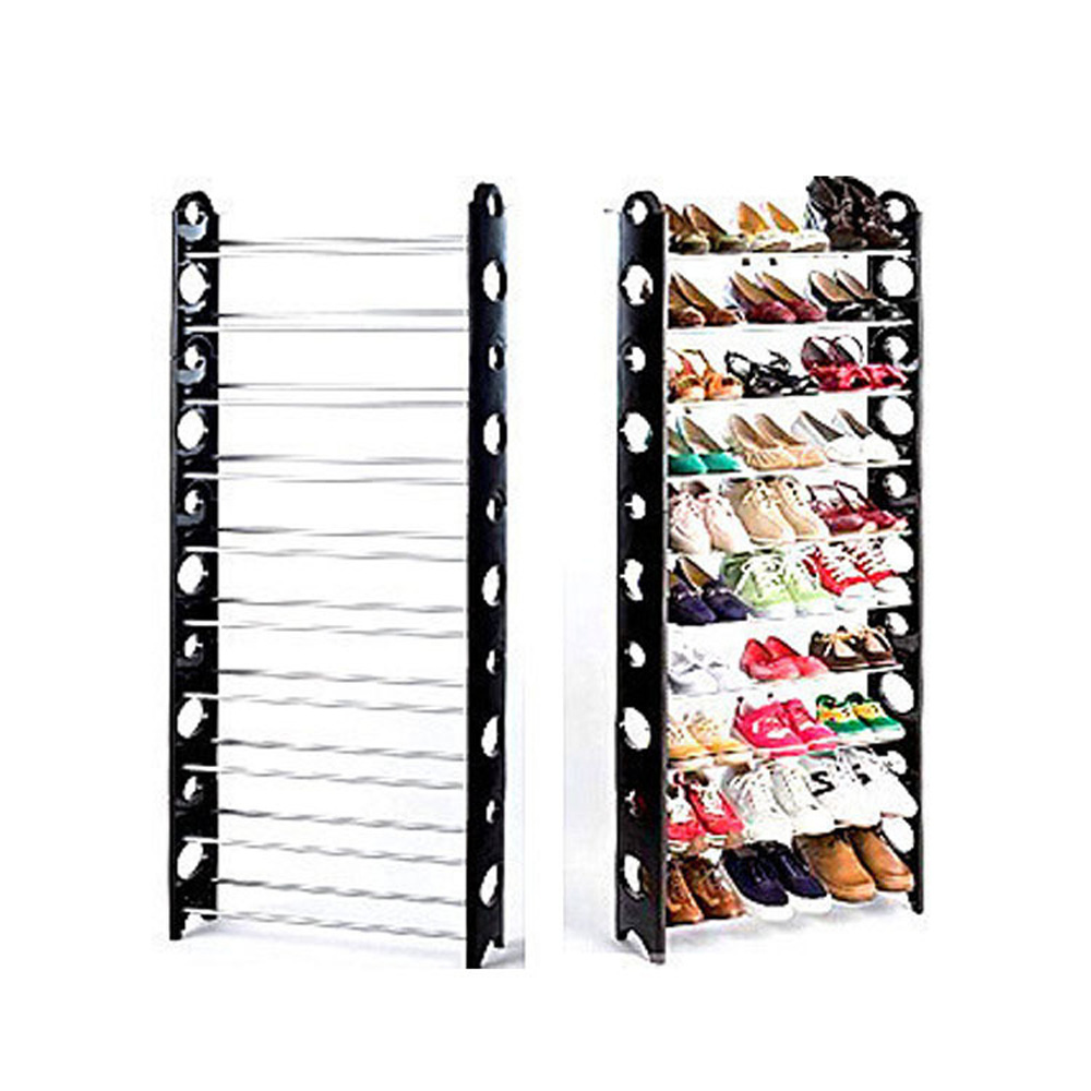Home Organizer Simple Stackable 4/10 Tier 50 Pair Shoes Free Standing Shoe Rack Chrome Metal Fashion Footwear Cabinet Storage(China (Mainland))
