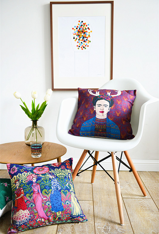 South american pastoral art pillowcase abstract color for South american decor