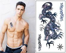Delicate Cool Men 2015 Creative Design Black Dragon Waterproof Sweat Temporary Tattoo Stickers