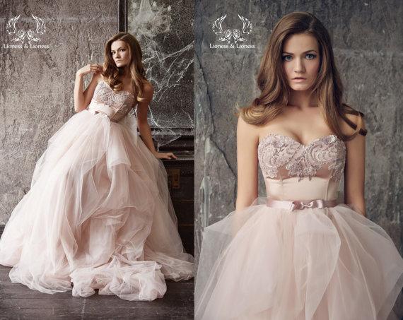 Image Result For Rose Colored Wedding Dress