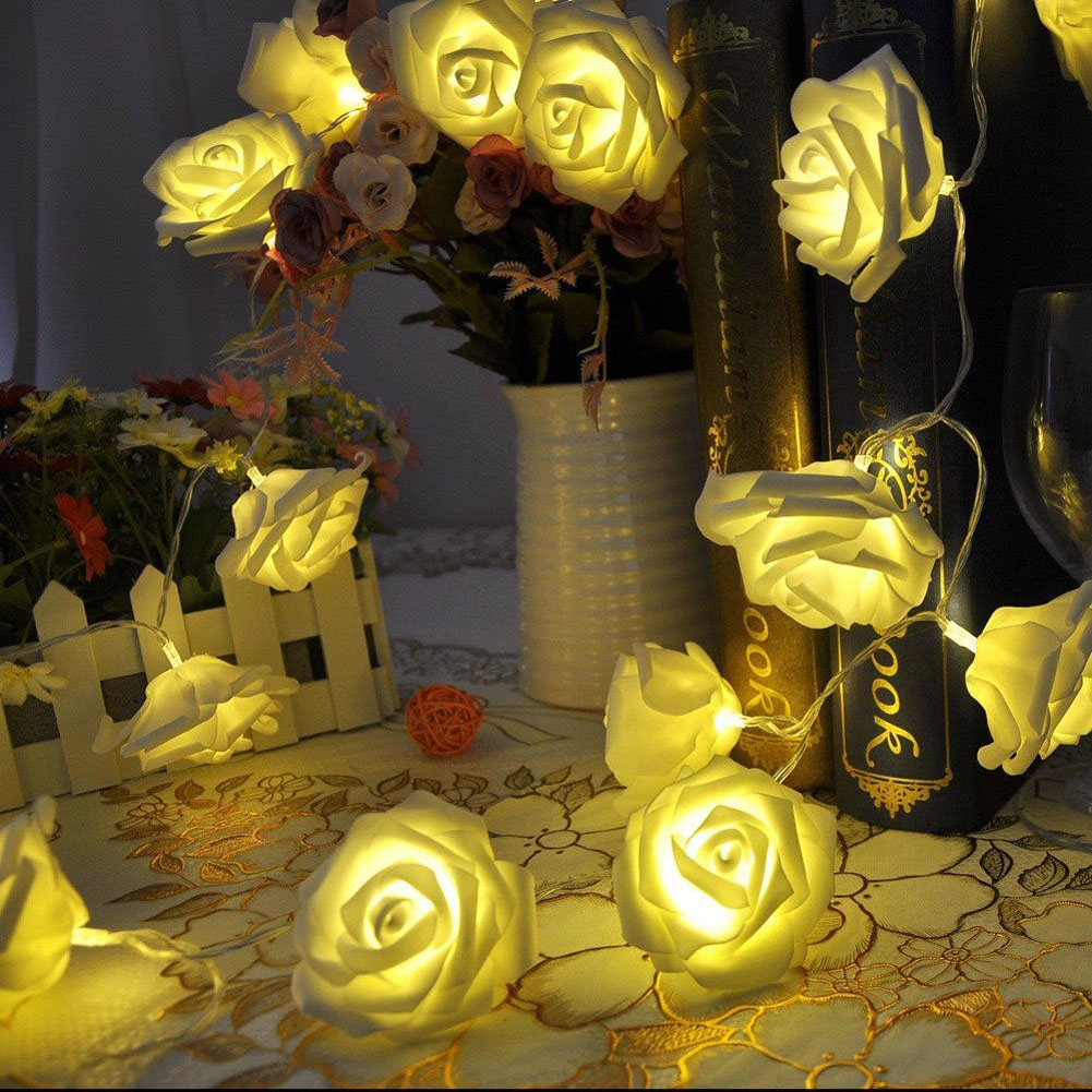 hot sale Holiday Lighting 20 x LED Novelty LED Rose Flower Fairy String Lights Wedding Garden