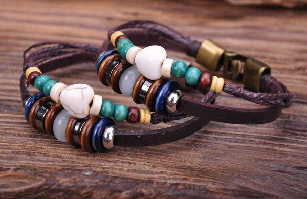 G53 2pc New Trendy Hemp Leather Wood & Stone Beads Wristband Bracelet Cuff G53 2pc(China (Mainland))