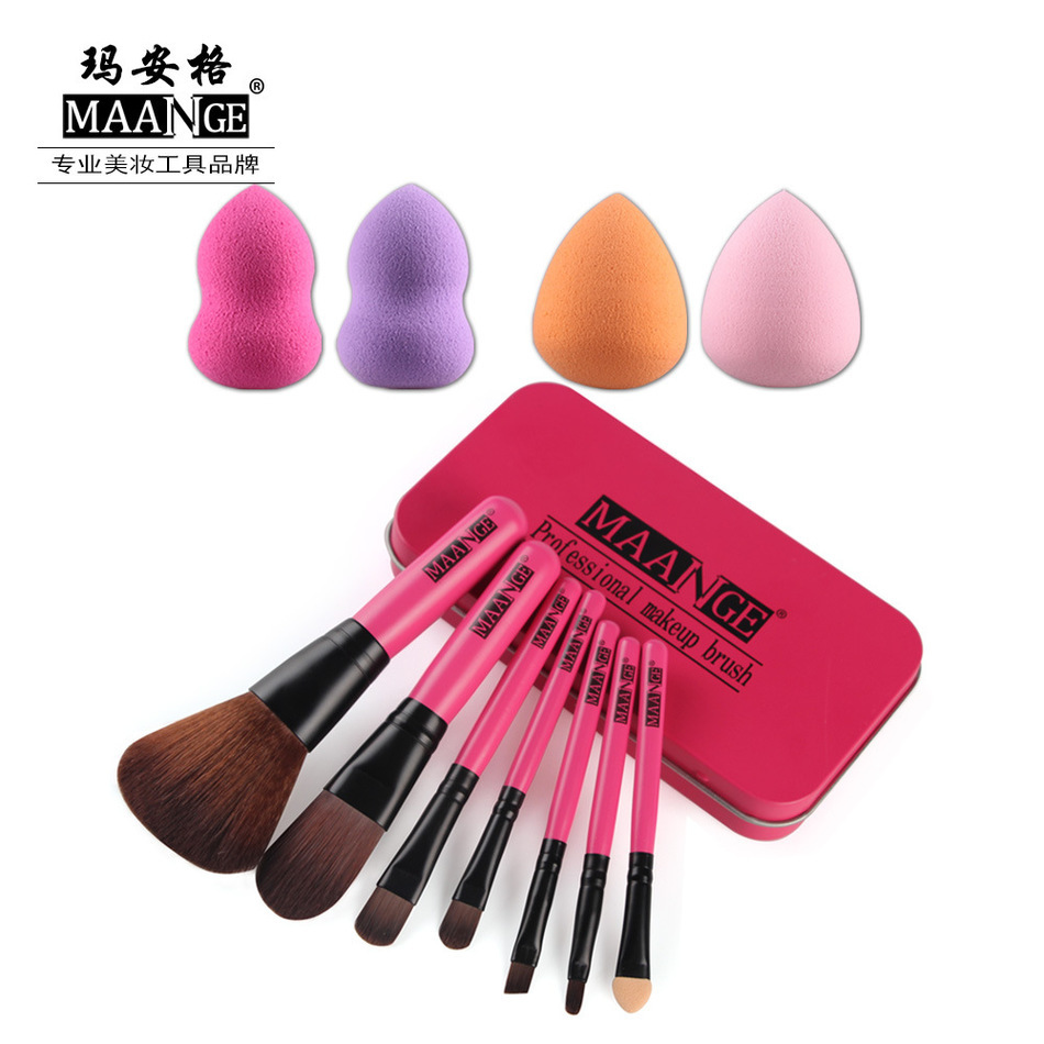 MAANGE Mary Security Grid 7 Branch Iron Open Cut Drain Gules Makeup Brush Set Assembling 4 Dress Puff Beautiful Up Tool(China (Mainland))