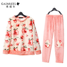 Song Riel sweet winter flannel pajamas long sleeve printing women comfortable warm home service package drunk
