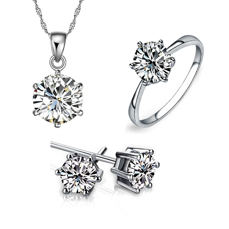 white gold silver Noble Eaegance Jewelry Necklace Earring ring Set Made with Austrian Element Crystals CS191B9(China (Mainland))