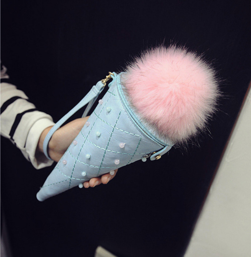 2016 hot new Ice cream cone bag fashion hair ball chain bag creative women bag PU leather messenger bag wholesale free shipping<br><br>Aliexpress